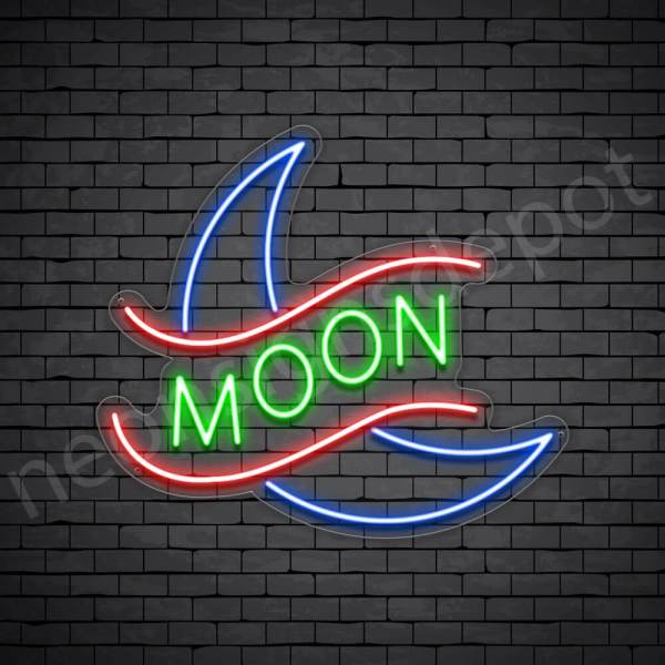 Crescent Moon Neon Sign - transparent
