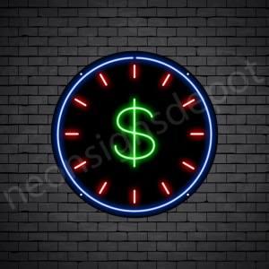 Dollar Clock Neon Sign - black