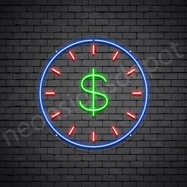 Dollar Clock Neon Sign - transparent