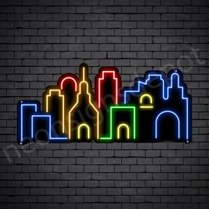Down Town City Neon Sign Black