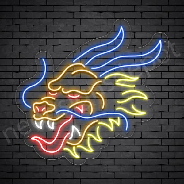 Dragon Blue Pyre Neon Sign