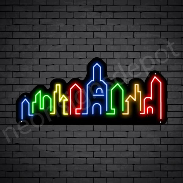 Dubai City Neon Sign Black