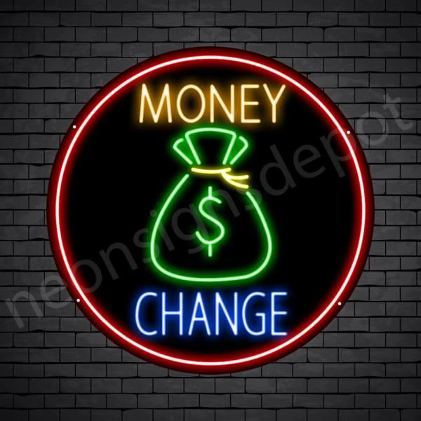 Money Change Neon Sign - black