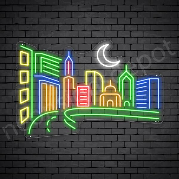 Small City Neon Sign Transparent