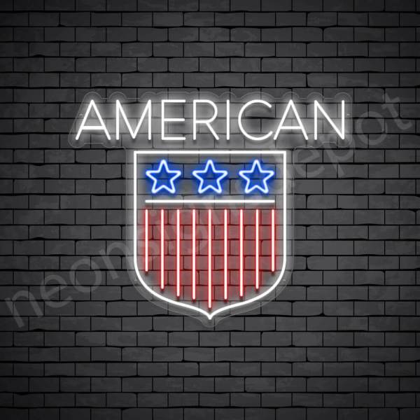 American Shield Flag Neon Sign - transparent