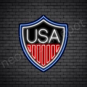 Shield USA Flag Neon Sign - black