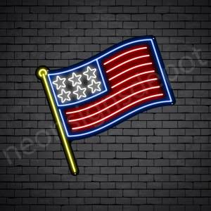 Stick American Flag Neon Sign - Black