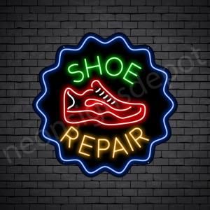 Shoe Repair Cap Neon Sign - Black