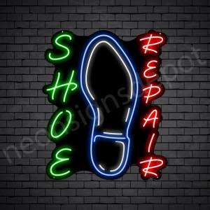 Shoe Repair Vertical Neon Sign - Black