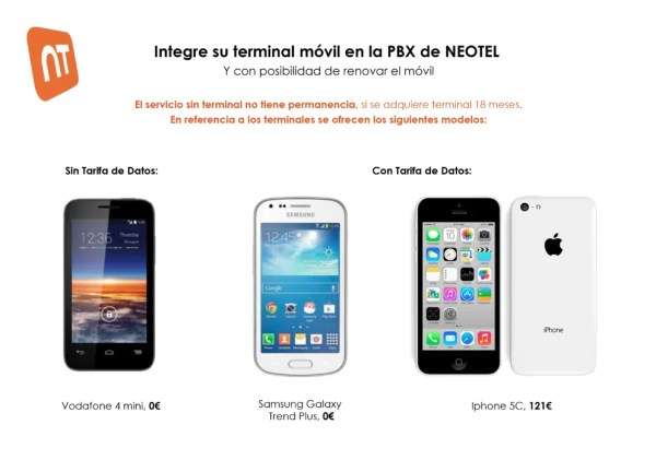 Cuotas Neotel móvil y PBX