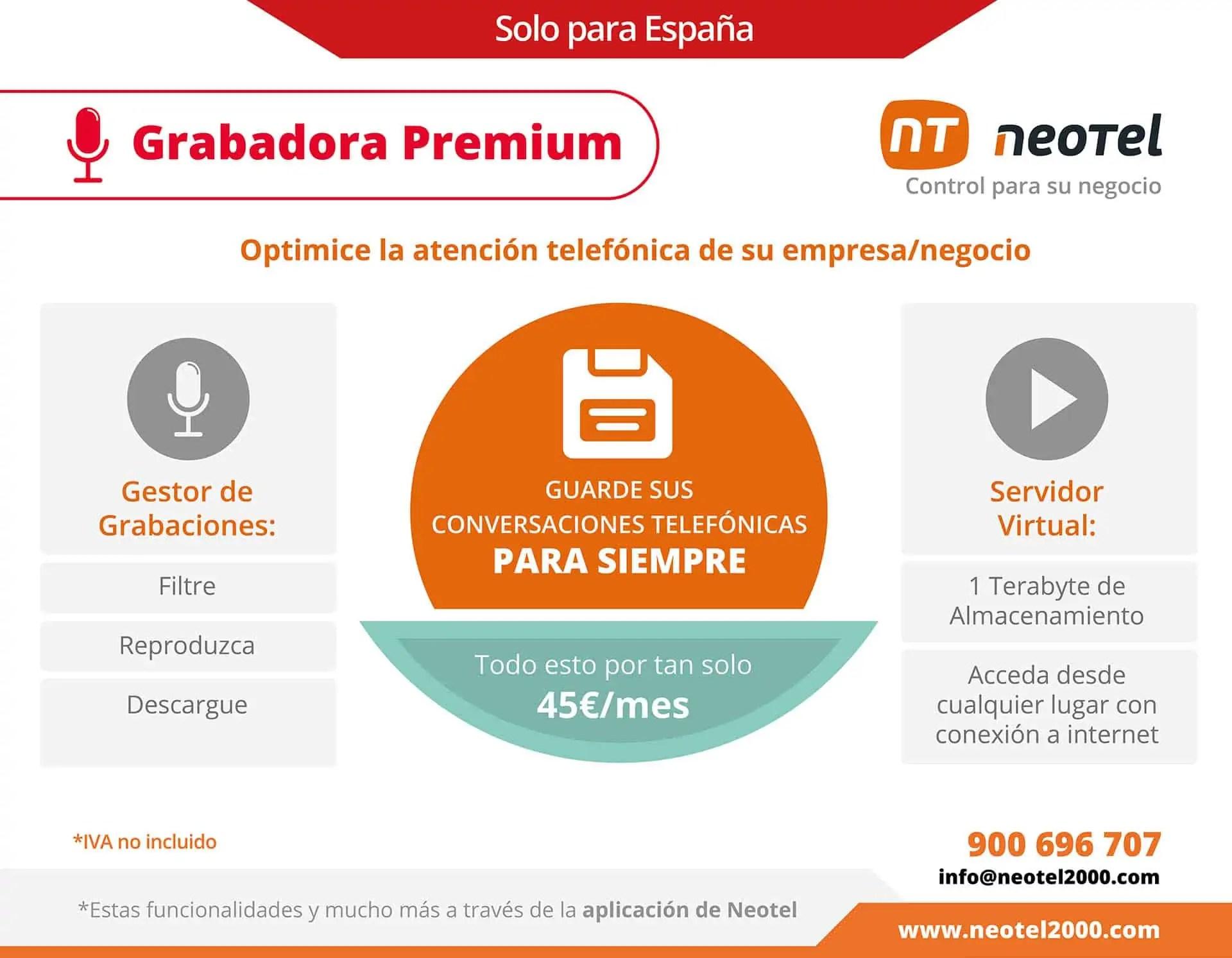 grabadora virtual de llamadas premium Neotel