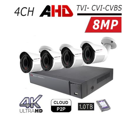 מערכת 4 מצלמות אבטחה צינור AHD 8MP