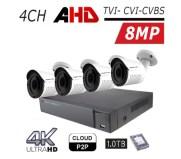 ערכת 4 מצלמות אבטחה צינור 4K