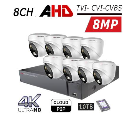 מערכת 8 מצלמות אבטחה AHD 4K כיפה