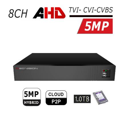 מכשיר הקלטה 8 ערוצים AHD 5MP