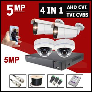 מערכות 4 מצלמות אבטחה AHD 5MP
