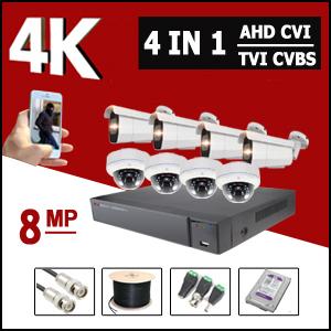 מערכות 8 מצלמות אבטחה AHD 4K