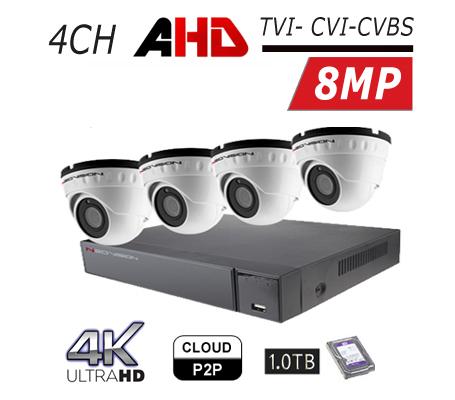 מערכת 4 מצלמות אבטחה כיפה AHD 8MP