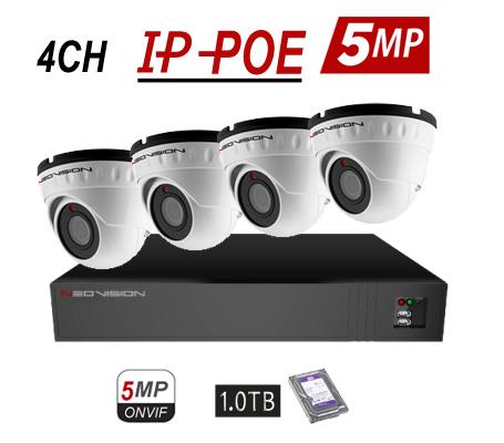 מערכת 4 מצלמות אבטחה כיפה POE 5MP