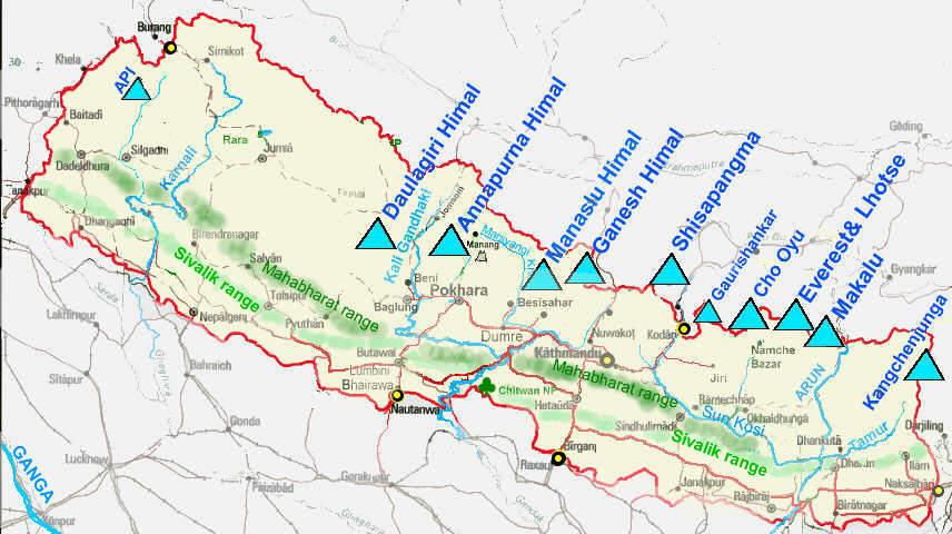 Himalaya Berge Karte.The Himalayas Subratachak