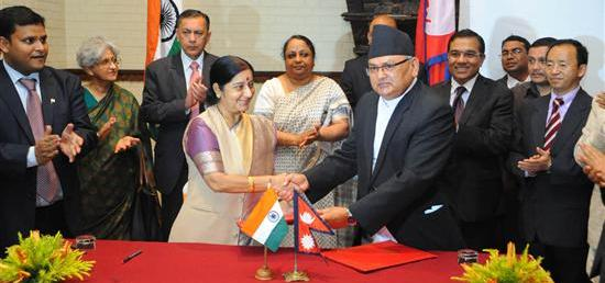 The third meeting of India-Nepal Joint Commission 25-27 July, Kathmandu In pic: Her Excellency Smt. Sushma Swaraj, Minister of External Affairs, Government of India, Hon. Foreign Minister  Mr.  Mahendra Bahadur Pandey of Nepal along with officiating Secretary Mr. Shanker Das Bairagi and  His Excellency Mr. Ranjit Rae His Excellancy Mr. Ranjit Rae, Ambassador of India  to Nepal and other officials.