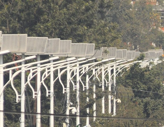 Solar panels erected along the Tinkune-Maitighar road section in the capital.