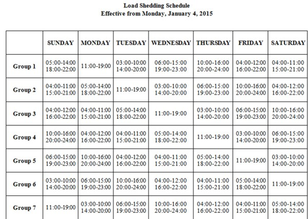 Load shedding schedule to be effective from Monday, January 4, 2015.