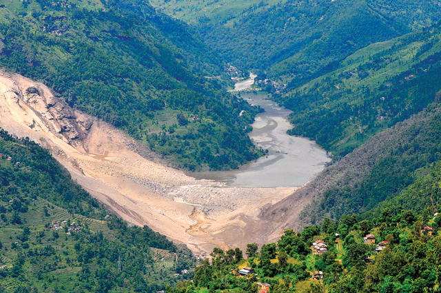 The Jure landslide that threw the Bhote Kosi plant out of operation for six months in 2014.
