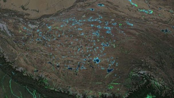 New lakes – seen as blue areas – are appearing on the Tibetan Plateau (Image copyright DELTARES)