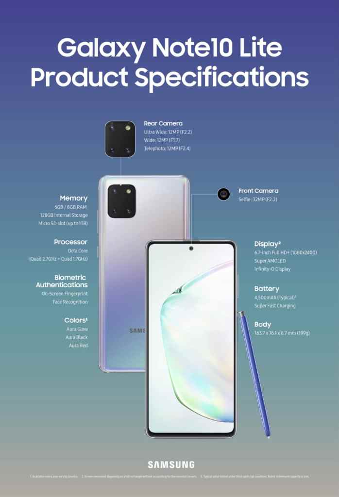 galaxy note10 lite specs