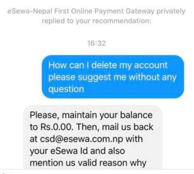 eSewa account delete