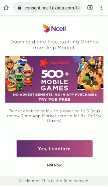 Ncell games auto activation App market consent