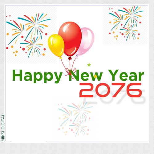 Happy New Year 2076 Card