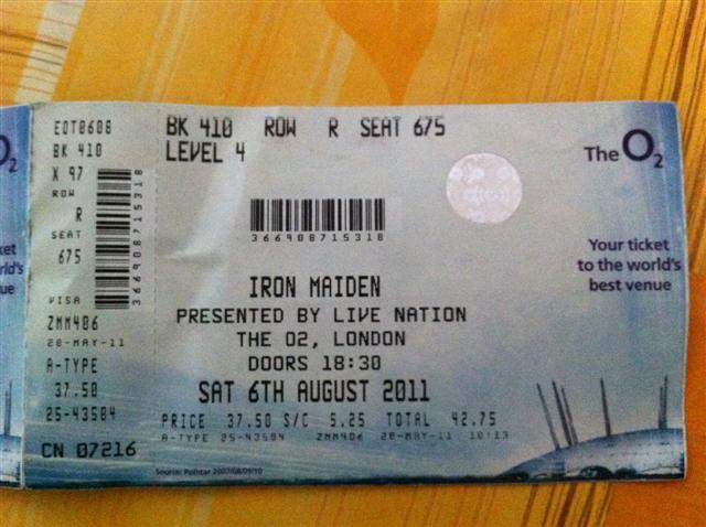 Iron Maiden Final Frontier Tour ticket.