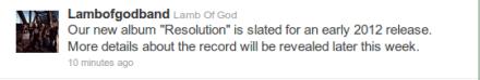 Lamb of god new album name Resolution 2012
