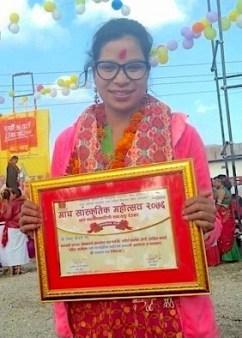 Female lawyer and activist Bishnu Chaudhary, Nepal
