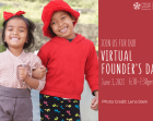 Founder's Day 2021 Invitation: Two children are smiling at the camera with their arms linked together. Event details are on the right side.