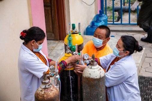 NYF staff members in Kathmandu prepare to battle COVID-19 during Nepal's second surge.