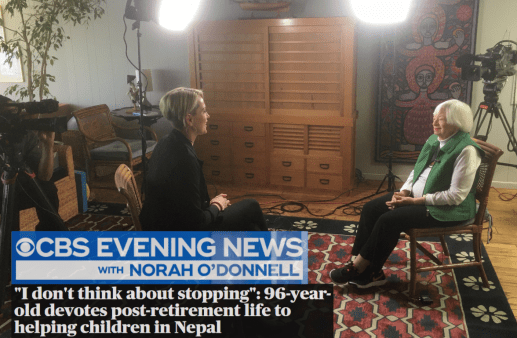 """Olga inspires on CBS News. """"I don't think about stopping"""": 96-year-old devotes post-retirement life to helping children in Nepal"""