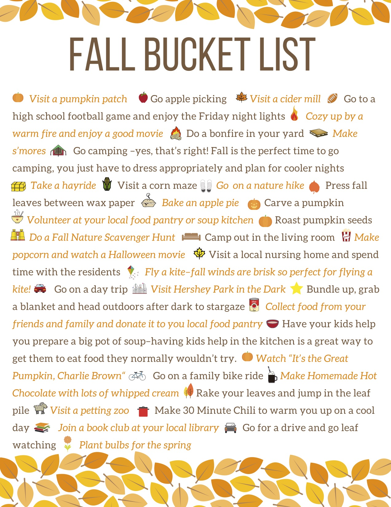 Fall Bucket List 30 Things To Do With The Kids This Fall