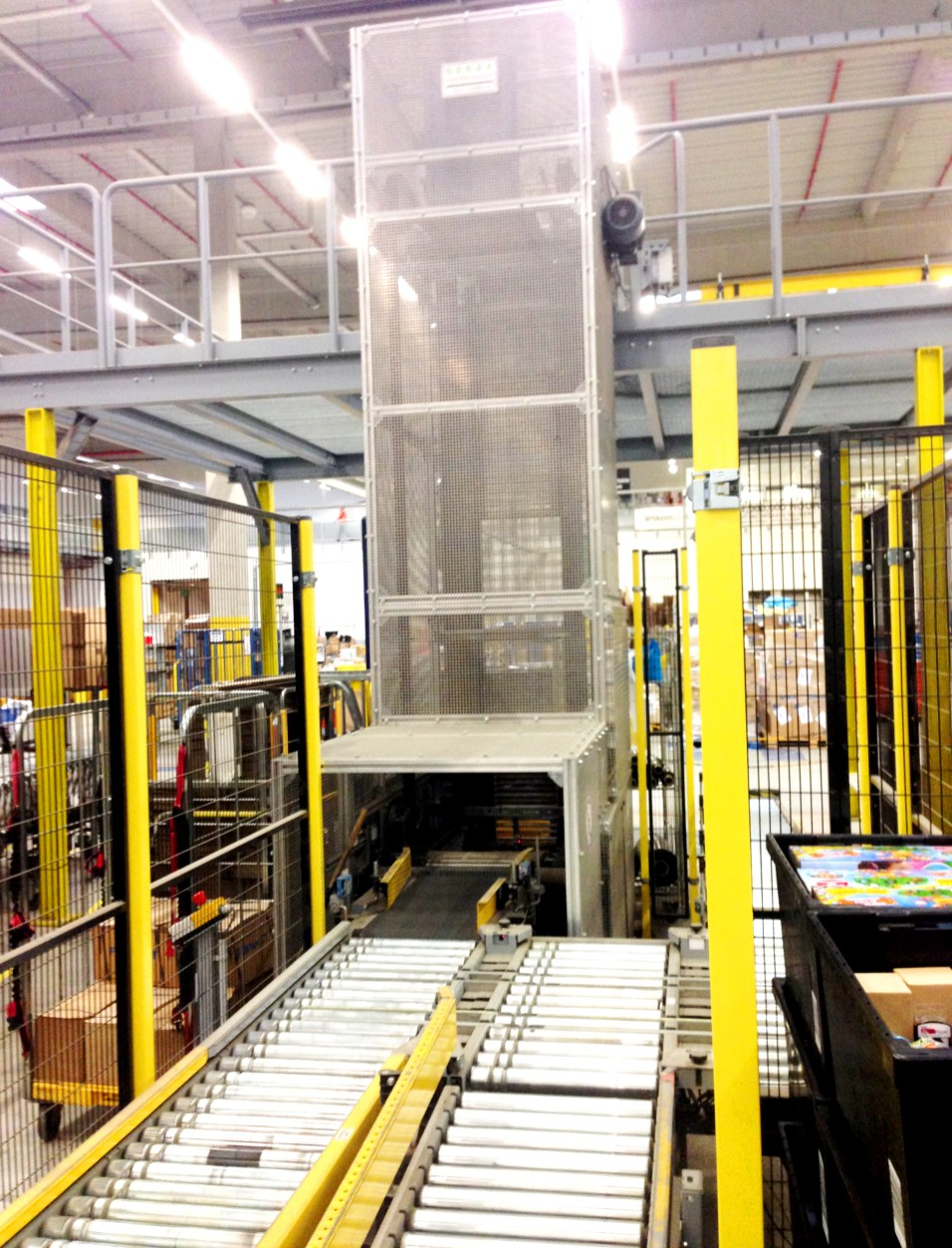 This Boxlifter moves packaged products from the First Floor to the ground floor