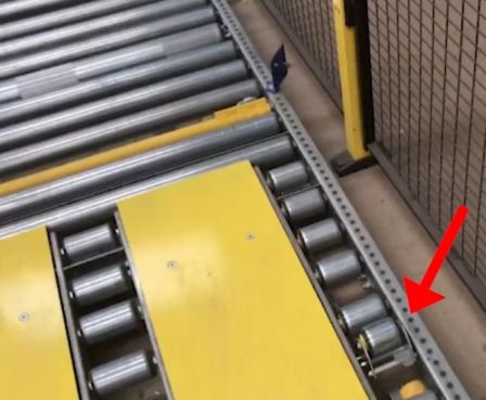 Stop Roller which allows each pallet to exit safely ahead of any following it