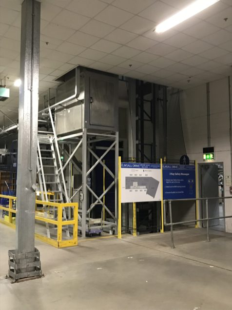 Enclosed Area which the lift operates from on the Ground Floor