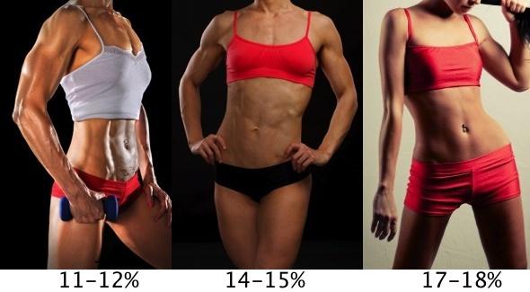 Female Body Fat Percentages 11-18%