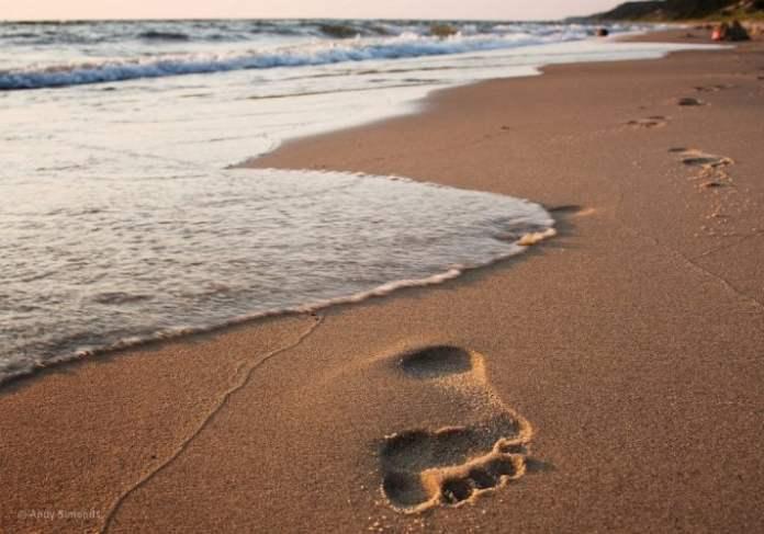 Walking along the beach to burn calories, just make sure you walk properly
