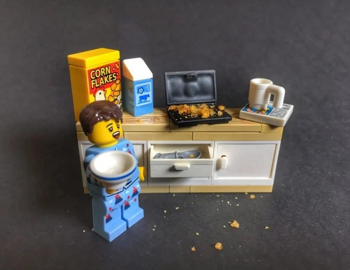 This LEGO does love to fast, but by skipping dinner, never breakfast.