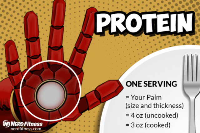 A serving of protein should be about the size of your palm, like so.