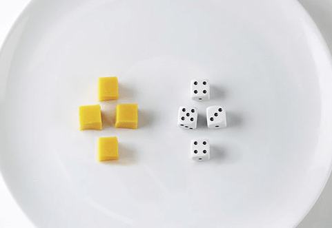 A serving of cheese is about the size of four dice