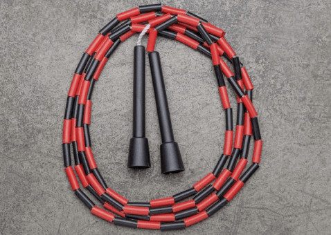 The beaded jump rope shown here is likely what you came across during grade school.