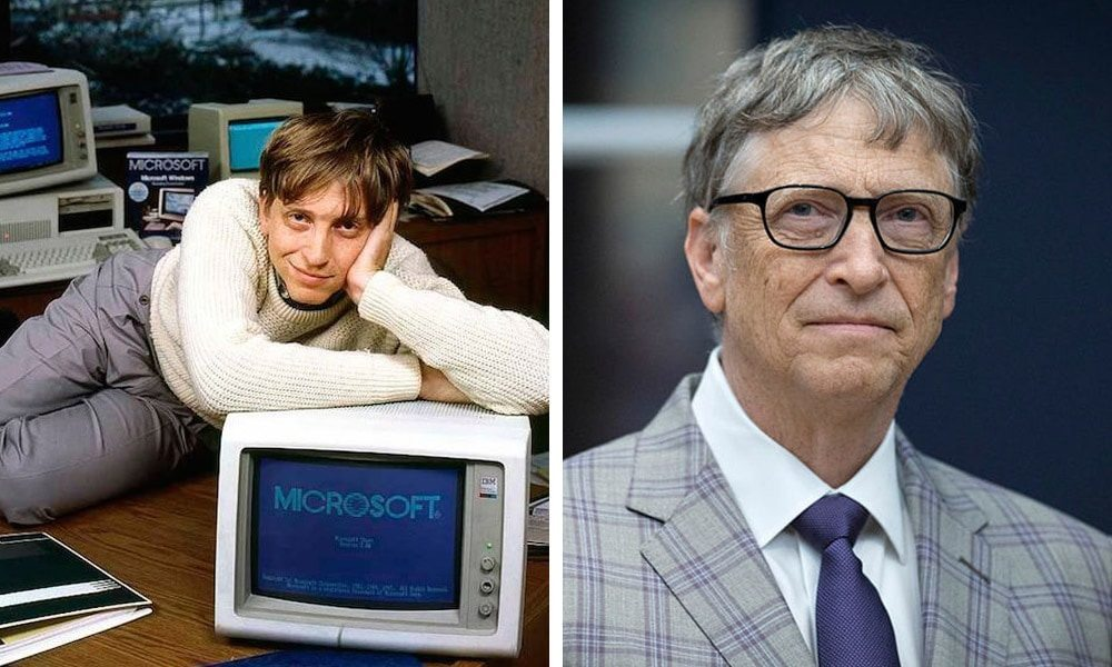 The founder of Microsoft. The photos of 1985 and 2018.
